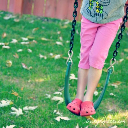 Standing on swing
