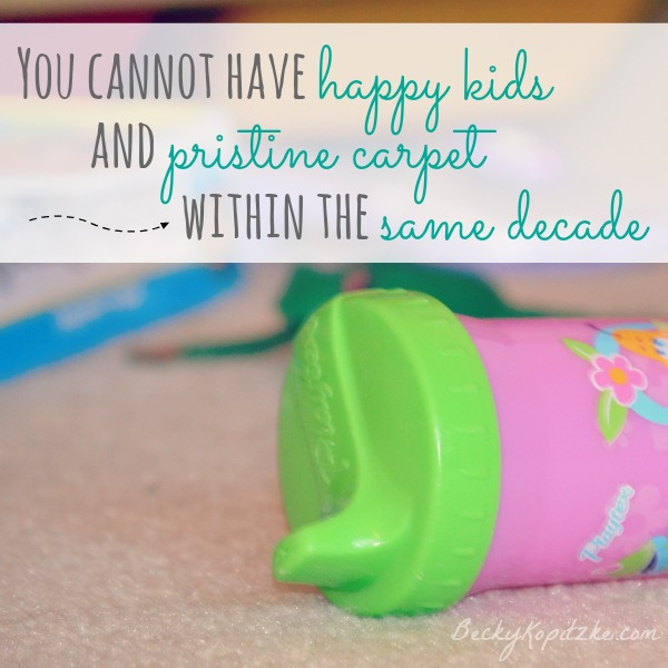 You cannot have happy kids and pristine carpet within the same decade