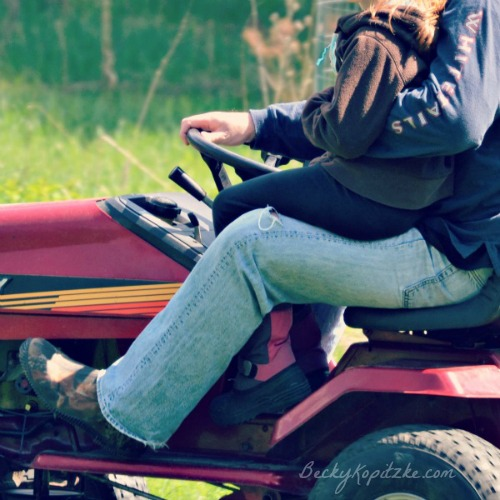 Husband on lawn mower