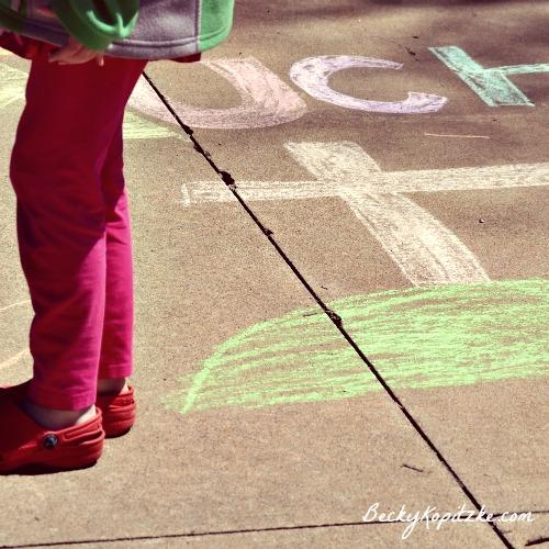 Sidewalk chalk cross