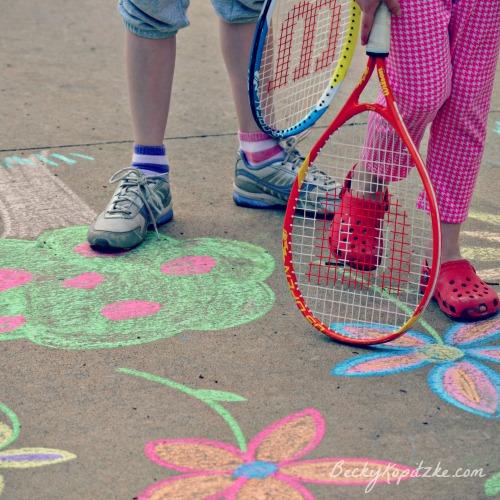 Tennis and sidewalk chalk